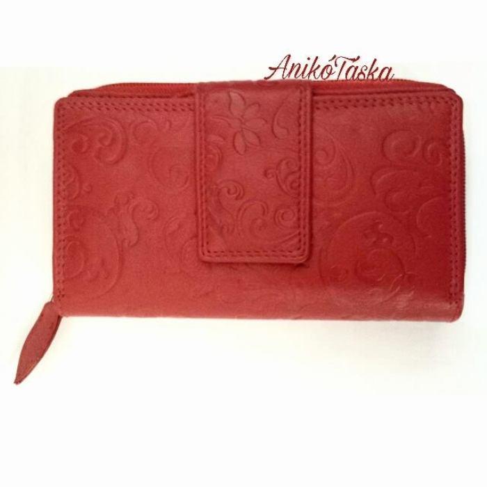Sok kártyatartós piros bőr női pénztárca virág mintás