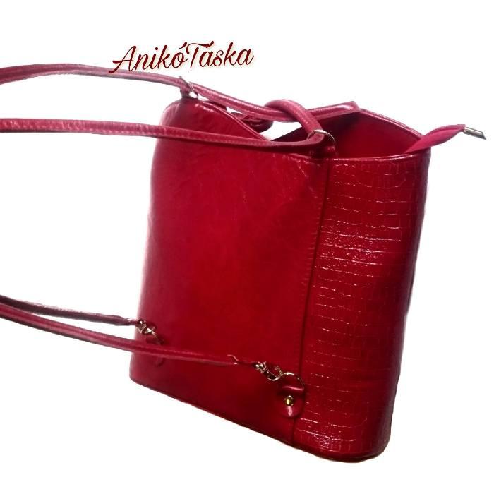 Bőr női válltáska hátizsák piros AgaHengl