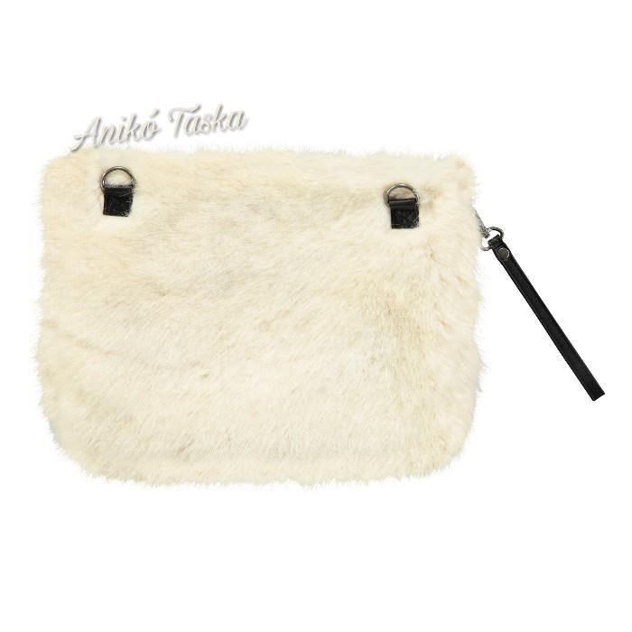 Barts műszőrme kis táska mosolygós fekete-fehér