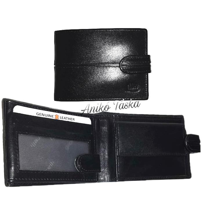 Kártyatartós bőr férfi pénztárca patentos fekete