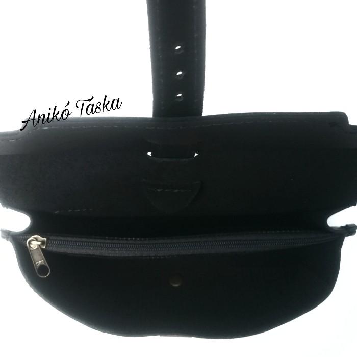 Bőr övre tehető táska fekete