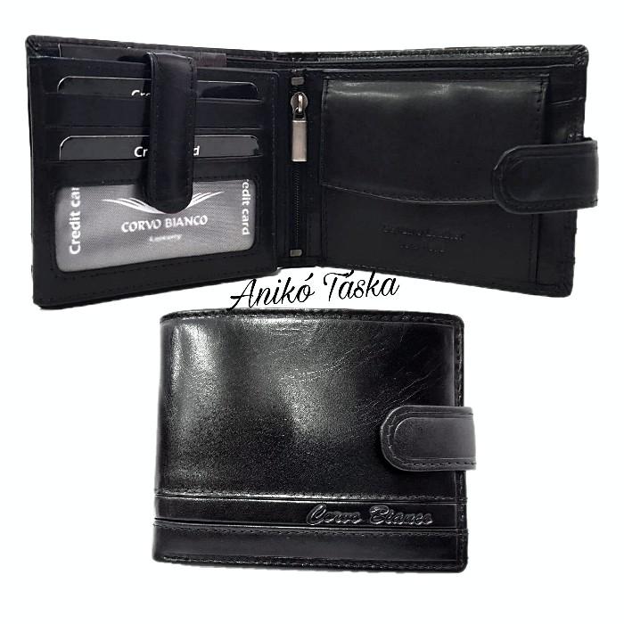 Sok kártyatartós bőr férfi pénztárca fekete