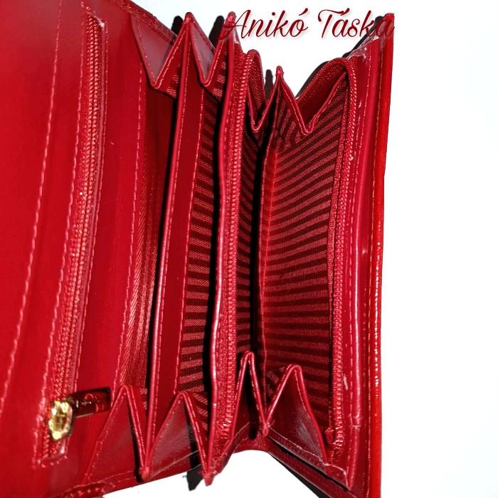 Swarovski piros női pénztárca fedeles sokkártyás