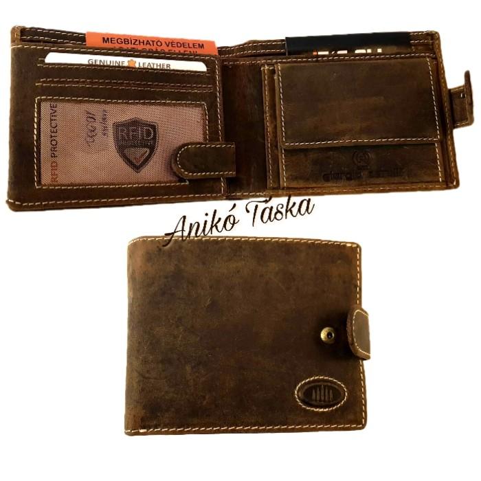 Kártyatartós bőr férfi pénztárca patentos natúrbarna