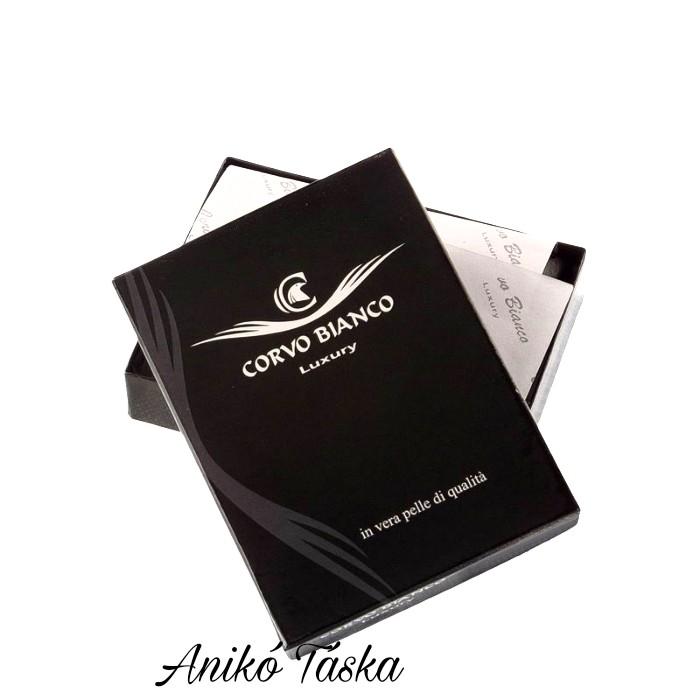 Patentos bőr kártya tartó fekete CorvoBianco