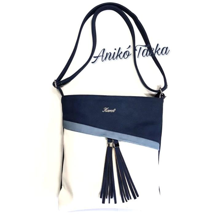 Karen női lapos oldal táska kék fehér b0fd400def