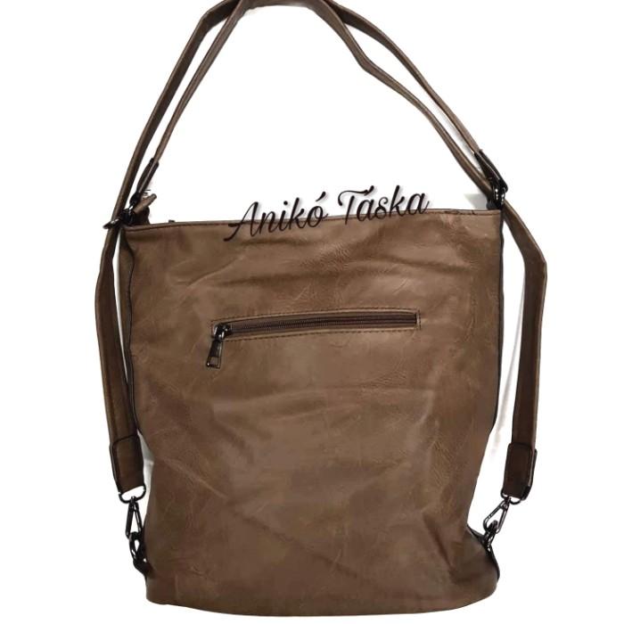 Alakítható női hátitáska vagy válltáska barna földszínű