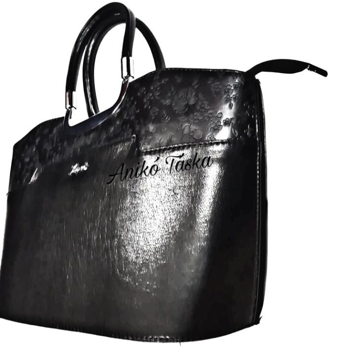 Karen elegáns női kézi táska virágos fekete