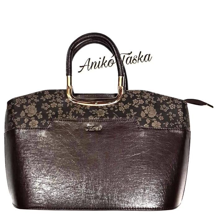 Karen elegáns női kézi táska virágos barna