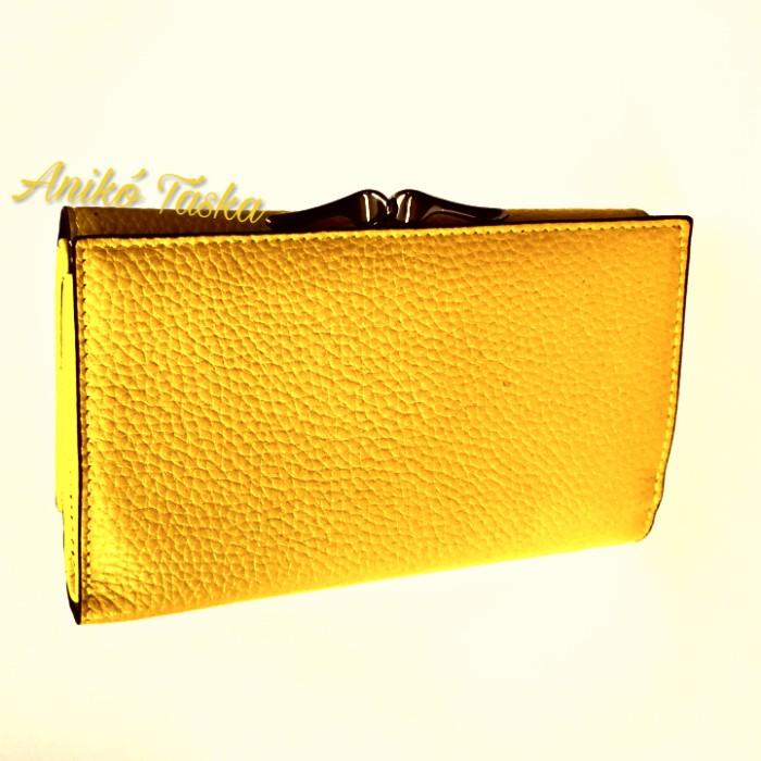 Sok kártyatartós keretes bőr női pénztárca citromsárga 89a03bbef1
