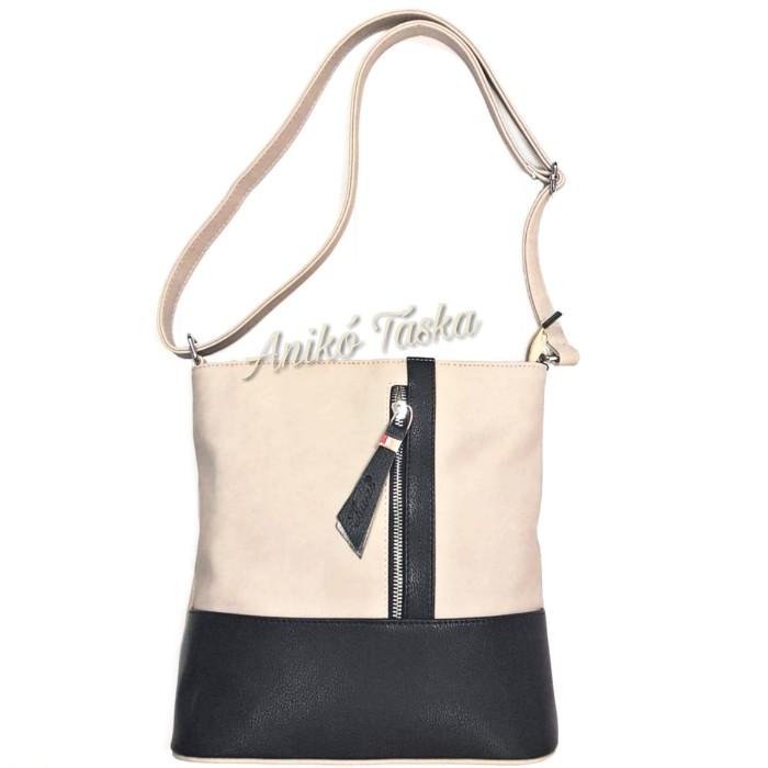 Karen női táska állítható vállpánttal bézs fekete