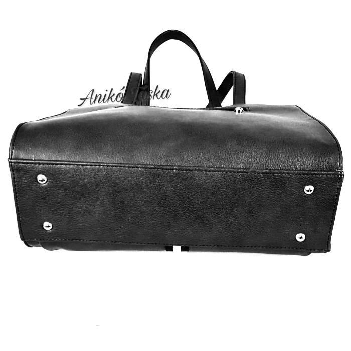 Karen fekete női táska dekorcsíkkal 9290