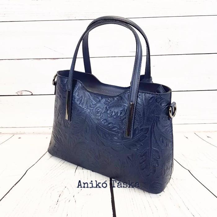 Olasz bőr női táska nyomott virágmintás kicsi kék