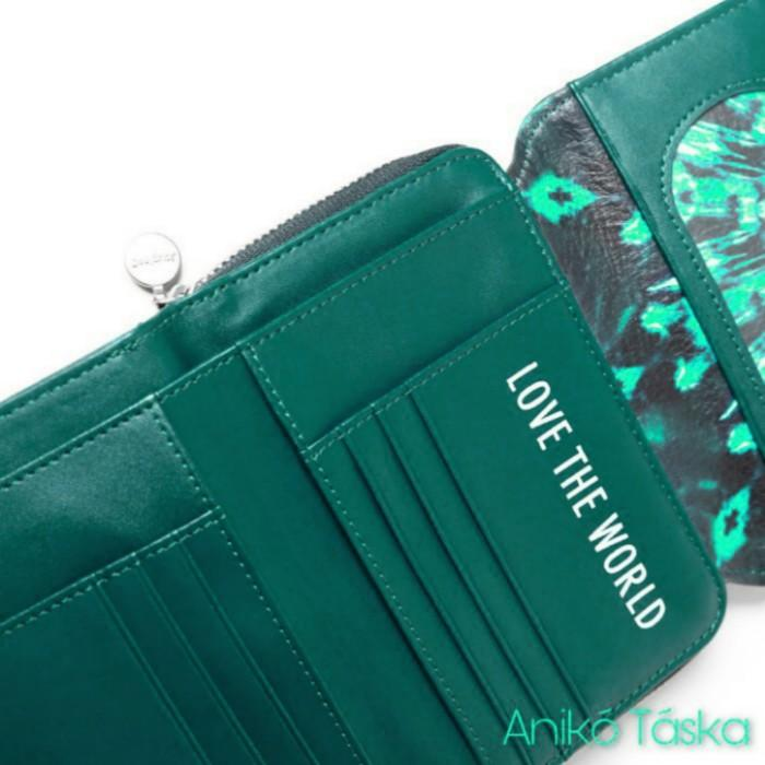 Desigual pénztárca két oldalra nyíló zöld mandala mintás