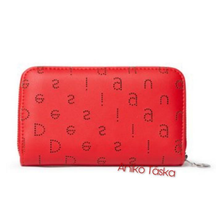 Desigual pénztárca kis cipzáras piros betűs