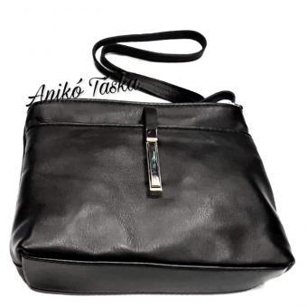 Billenő záras kis női bőr táska fekete