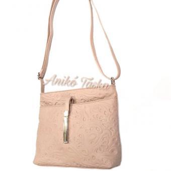 Billenő záras kis női bőr táska virágos púderrózsaszín